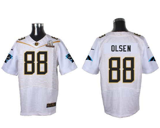 Mens Nfl Carolina Panthers #88 Olsen White (2016 Pro Bowl) Elite Jersey
