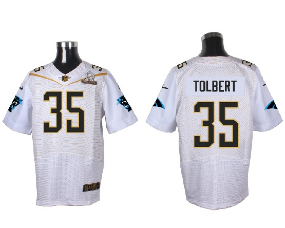 Mens Nfl Carolina Panthers #35 Tolbert White (2016 Pro Bowl) Elite Jersey