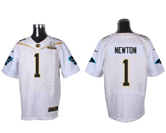 Mens Nfl Carolina Panthers #1 Cam Newton White (2016 Pro Bowl) Elite Jersey