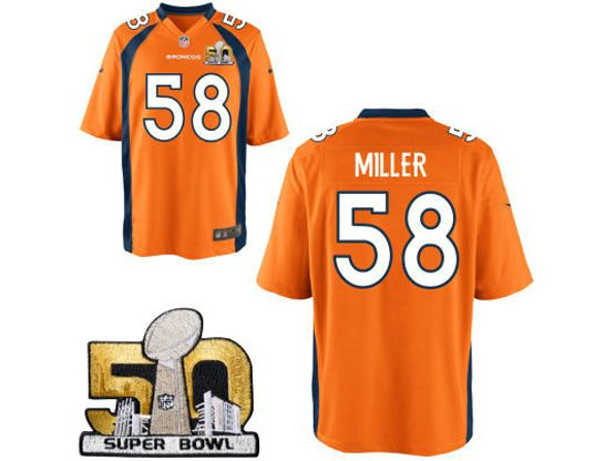 Mens Nfl Denver Broncos #58 Von Miller Orange Super Bowl 50 Bound Game Jersey