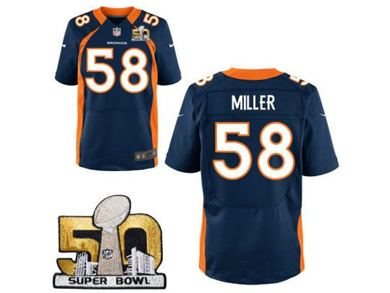 Mens Nfl Denver Broncos #58 Von Miller Blue Super Bowl 50 Bound Elite Jersey