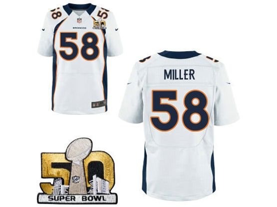 Mens Nfl Denver Broncos #58 Von Miller White Super Bowl 50 Bound Elite Jersey