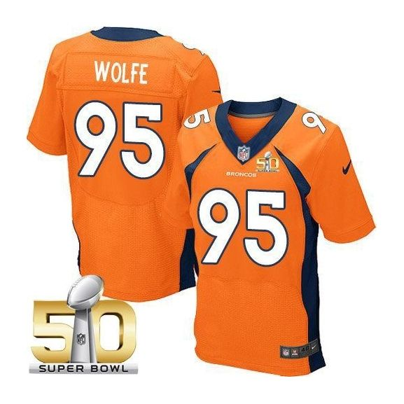 Mens Nfl Denver Broncos #95 Derek Wolfe Orange Super Bowl 50 Bound Elite Jersey