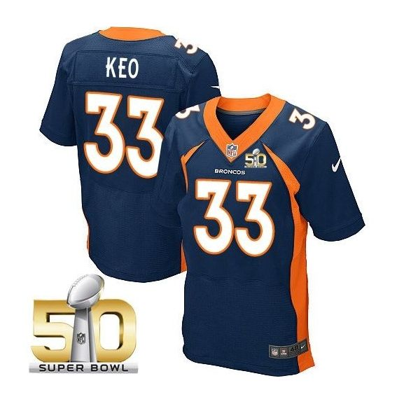 Mens Nfl Denver Broncos #33 Shiloh Keo Blue Super Bowl 50 Bound Elite Jersey