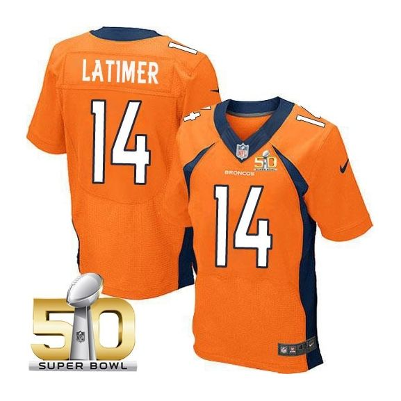 Mens Nfl Denver Broncos #14 Cody Latimer Orange Super Bowl 50 Bound Elite Jersey