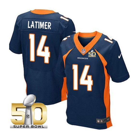 Mens Nfl Denver Broncos #14 Cody Latimer Blue Super Bowl 50 Bound Elite Jersey