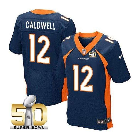 Mens Nfl Denver Broncos #12 Andre Caldwell Blue Super Bowl 50 Bound Elite Jersey