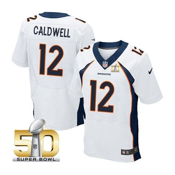 Mens Nfl Denver Broncos #12 Andre Caldwell White Super Bowl 50 Bound Elite Jersey