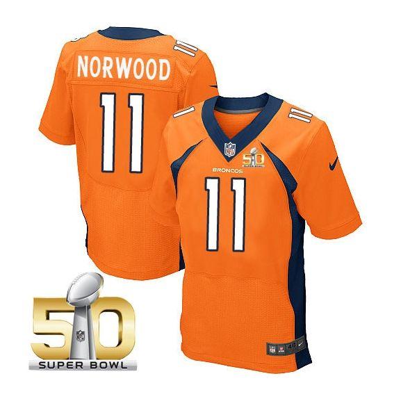 Mens Nfl Denver Broncos #11 Jordan Norwood Orange Super Bowl 50 Bound Elite Jersey