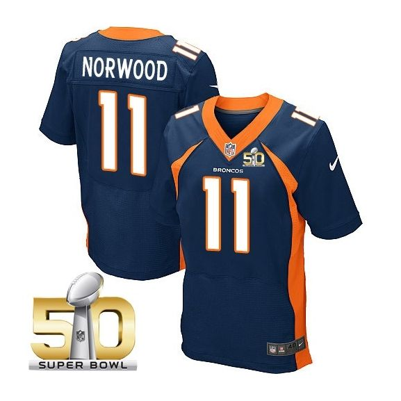 Mens Nfl Denver Broncos #11 Jordan Norwood Blue Super Bowl 50 Bound Elite Jersey
