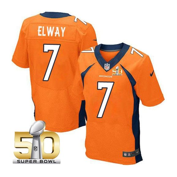 Mens Nfl Denver Broncos #7 John Elway Orange Super Bowl 50 Bound Elite Jersey
