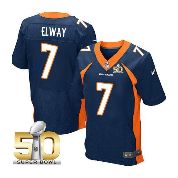 Mens Nfl Denver Broncos #7 John Elway Blue Super Bowl 50 Bound Elite Jersey
