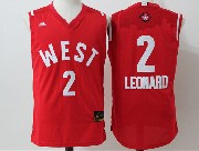 Mens Nba 2016 All Star West San Antonio Spurs #2 Leonard Red Jersey