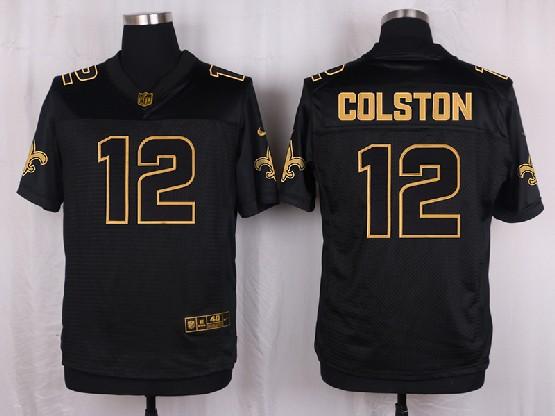 Mens Nfl New Orleans Saints #12 Colston Black Gold Super Bowl 50 Elite Jersey
