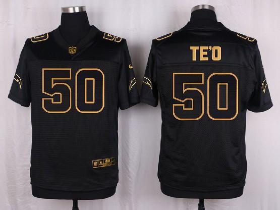 Mens Nfl San Diego Chargers #50 Te'o Black Gold Super Bowl 50 Elite Jersey