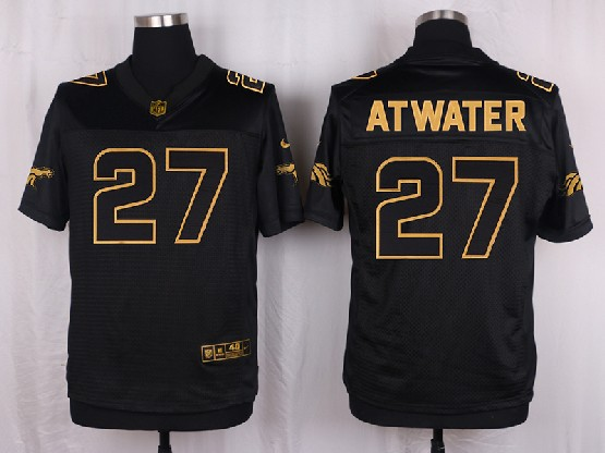 Mens Nfl Denver Broncos #27 Atwater Black Gold Super Bowl 50 Elite Jersey