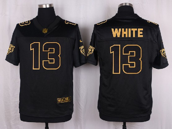 Mens Nfl Chicago Bears #13 White Black Gold Super Bowl 50 Elite Jersey