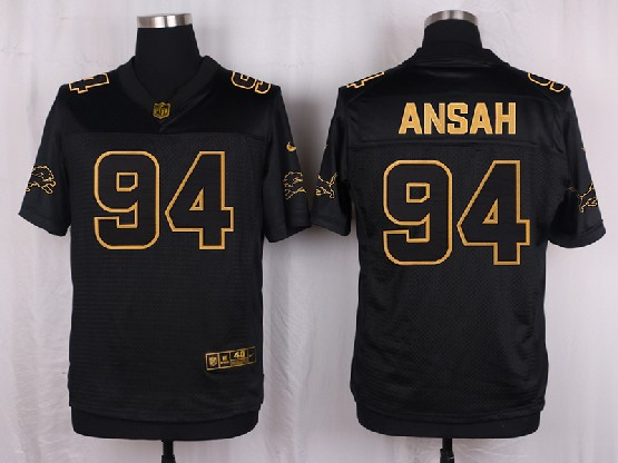 Mens Nfl Detroit Lions #94 Ansah Black Gold Super Bowl 50 Elite Jersey