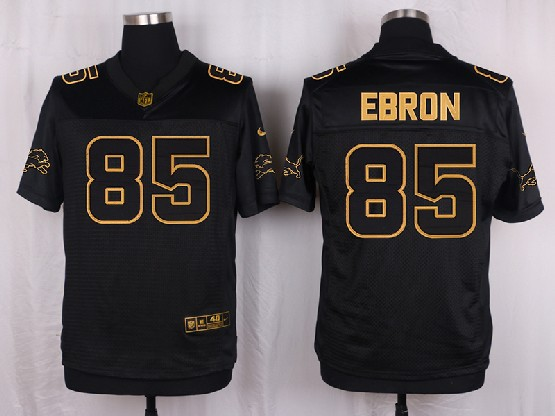 Mens Nfl Detroit Lions #85 Ebron Black Gold Super Bowl 50 Elite Jersey