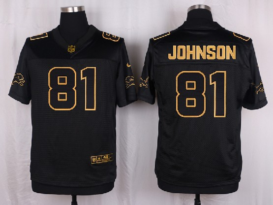 Mens Nfl Detroit Lions #81 Johnson Black Gold Super Bowl 50 Elite Jersey