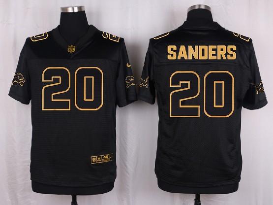 Mens Nfl Detroit Lions #20 Sanders Black Gold Super Bowl 50 Elite Jersey