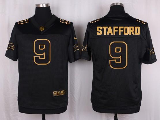Mens Nfl Detroit Lions #9 Stafford Black Gold Super Bowl 50 Elite Jersey