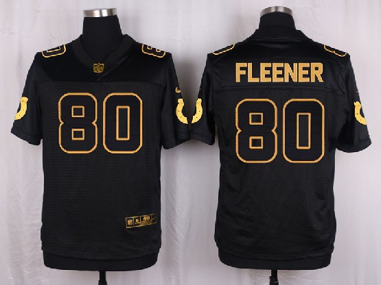 Mens Nfl Indianapolis Colts #80 Fleener Black Gold Super Bowl 50 Elite Jersey