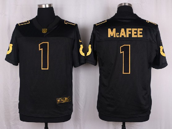 Mens Nfl Indianapolis Colts #1 Mcafee Black Gold Super Bowl 50 Elite Jersey