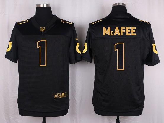 Mens Nfl Indianapolis Colts #1 Mcafee Black Gold Super Bowl 50 Elite Jersey