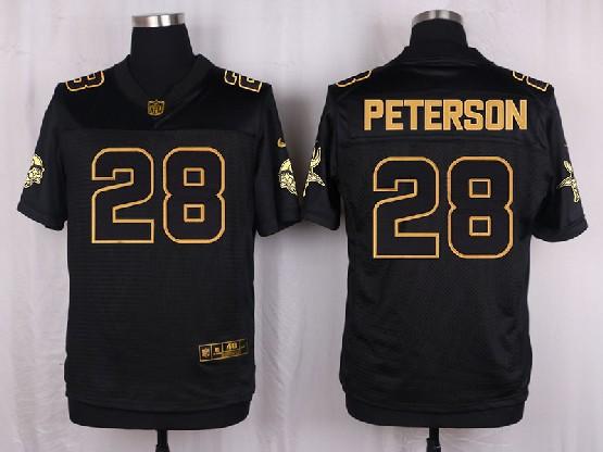 Mens Nfl Minnesota Vikings #28 Peterson Black Gold Super Bowl 50 Elite Jersey