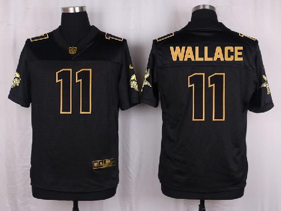 Mens Nfl Minnesota Vikings #11 Wallace Black Gold Super Bowl 50 Elite Jersey