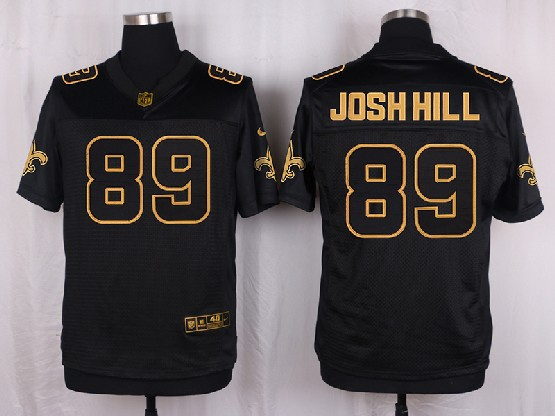 Mens Nfl New Orleans Saints #89 Josh Hill Black Gold Super Bowl 50 Elite Jersey