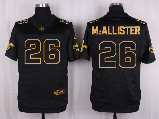 Mens Nfl New Orleans Saints #26 Mcallister Black Gold Super Bowl 50 Elite Jersey