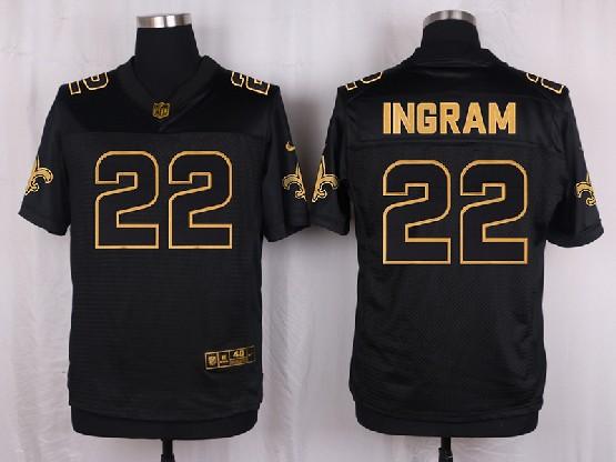 Mens Nfl New Orleans Saints #22 Ingram Black Gold Super Bowl 50 Elite Jersey