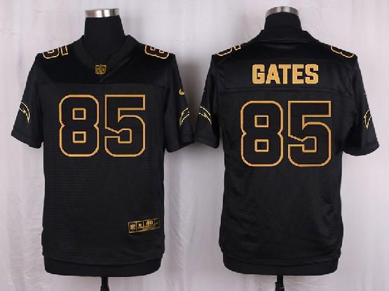 Mens Nfl San Diego Chargers #85 Gates Black Gold Super Bowl 50 Elite Jersey