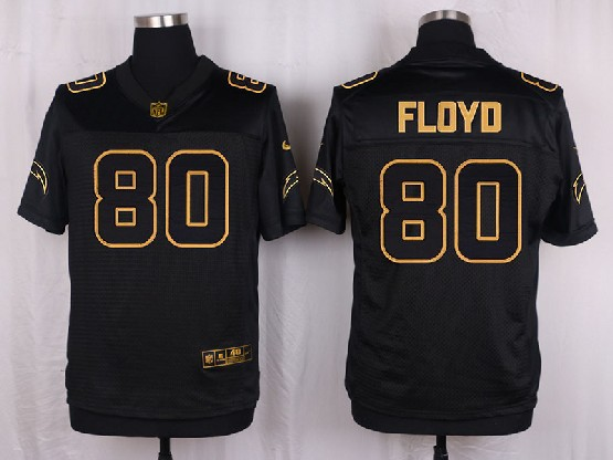 Mens Nfl San Diego Chargers #80 Floyd Black Gold Super Bowl 50 Elite Jersey