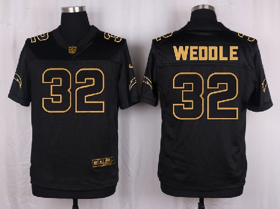 Mens Nfl San Diego Chargers #32 Weddle Black Gold Super Bowl 50 Elite Jersey
