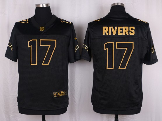 Mens Nfl San Diego Chargers #17 Rivers Black Gold Super Bowl 50 Elite Jersey
