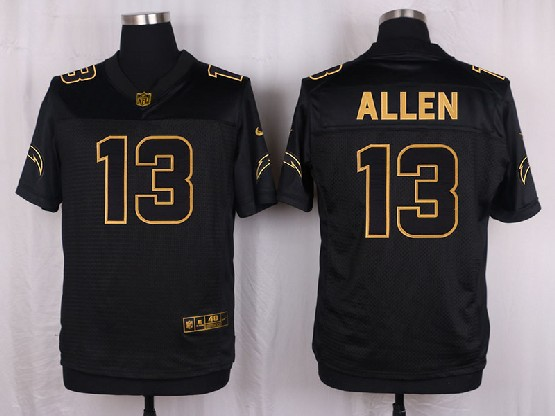Mens Nfl San Diego Chargers #13 Allen Black Gold Super Bowl 50 Elite Jersey
