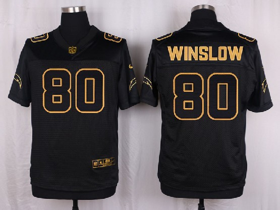 Mens Nfl San Diego Chargers #80 Winslow Black Gold Super Bowl 50 Elite Jersey