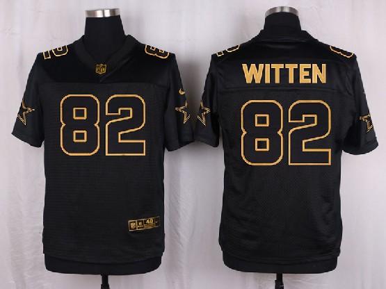 mens nfl Dallas Cowboys #82 Jason Witten black gold super bowl 50 elite jersey
