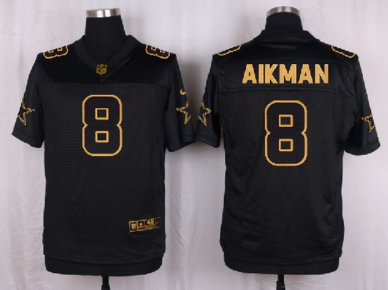 mens nfl Dallas Cowboys #8 Troy Aikman black gold super bowl 50 elite jersey