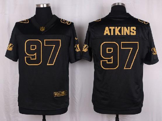 Mens Nfl Cincinnati Bengals #97 Atkins Black Gold Super Bowl 50 Elite Jersey