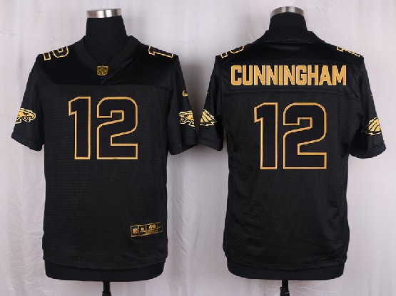 Mens Nfl Philadelphia Eagles #12 Cunningham Black Gold Super Bowl 50 Elite Jersey