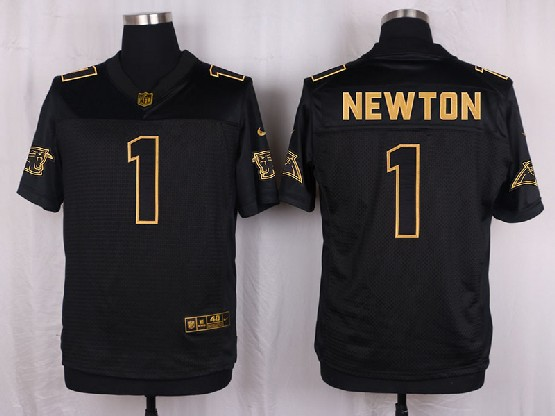 Mens Nfl Carolina Panthers #1 Cam Newton Black Gold Super Bowl 50 Elite Jersey