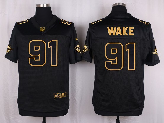 Mens Nfl Miami Dolphins #91 Wake Black Gold Super Bowl 50 Elite Jersey