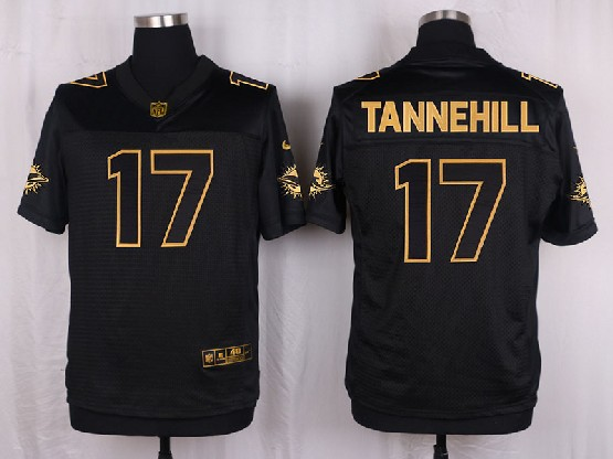 Mens Nfl Miami Dolphins #17 Tannehill Black Gold Super Bowl 50 Elite Jersey