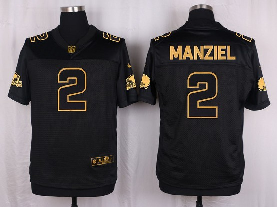 Mens Nfl Cleveland Browns #2 Manziel Black Gold Super Bowl 50 Elite Jersey