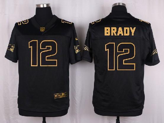 mens nfl New England Patriots #12 Tom Brady black gold super bowl 50 elite jersey