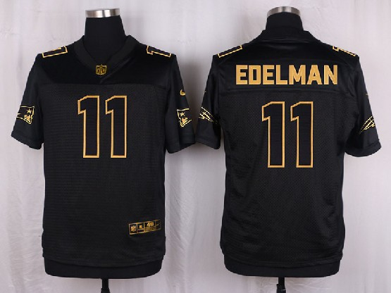 mens nfl New England Patriots #11 Julian Edelman black gold super bowl 50 elite jersey